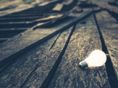Usable Idea, Light bulb still glowing on broken old wood bridge